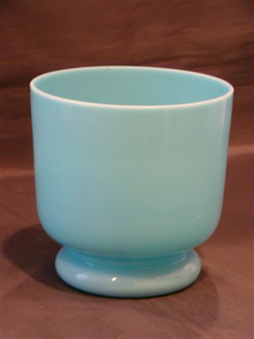 Blue opaline art glass vase
