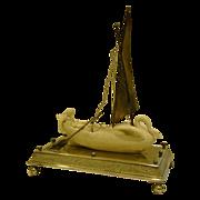 SALE Meriden silverplate parian ware woman in swan boat centerpiece