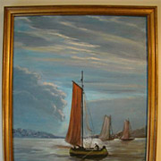 Pauline Wright oil painting of ships at sea