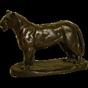 Barye bronze recast sculpture of lionness lion
