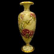 Huge Limoges hand painted floral roses bolted vase artist signed