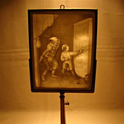 SALE Antique French Lithophane candle screen 1800's