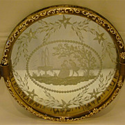 Venetian etched and enameled round mirror tray