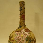 Oriental moriage porcelain vase flowers and butterflies