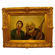 Antique Italian oil painting of boy singing and musician gilded frame