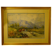 Joseph Milne watercolor cows Ben Lomond Scotland