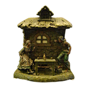 French figural spelter lamp woman and man at cottage signed