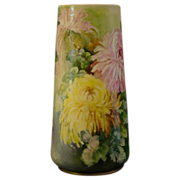 SOLD RESERVED FOR MRS LH Vienna Austria large hand painted chrysanthemum vase artist signed Kr