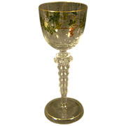 Theresienthal Bohemian tall enameled grape and vine goblet stem