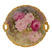 SALE Gorgeous Limoges Handled Charger; Ornate, Rococo Blank; Layered Roses