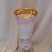 Beautiful & Large German Heinrich Vase; Pink & Yellow Roses