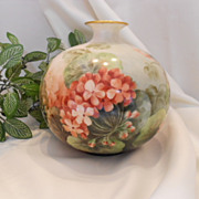 Gorgeous Willets Belleek Bulbous, Round Vase;  Wonderful, Colorful Geraniums