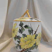 SALE Beautiful Limoges 1889 Biscuit/Cracker Jar; Large Yellow Roses; Artist; Dated