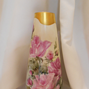 SALE Beautiful German Vase; Gorgeous Roses; Lovely Gold Border
