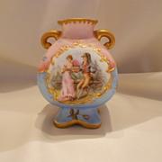 Adorable Martial Redon Limoges Handled Vase; Nobleman, Ladies