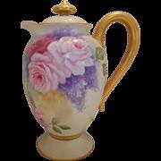 Gorgeous Haviland Limoges Chocolate/Cocoa Pot; Roses & Lilacs!
