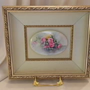 Beautifully Framed Limoges Plaque; Hand Painted Roses