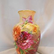 Striking & Vivid Limoges Urn Shaped Vase; Vibrant Peonies; Factory Artist
