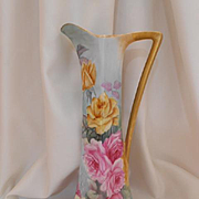 Very Vibrant & Colorful Limoges Tankard/Pitcher; Superb Roses