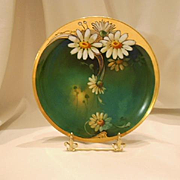 Stunning Limoges Brauer Decorated Plate; Nouveau Daisies; Artist Rhodes