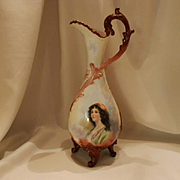 Awesome Limoges Ornate Handled & Footed Ewer; Hand Painted Beautiful Gypsy