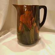 Slip Decorated Standard Glaze Large Jug or Pitcher; Iris Design