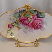 Gorgeous Limoges Split Handle Tray; Rosette; Burgundy Roses