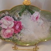 Lovely Limoges Split Handle Tray; Rosette; Pink Roses