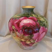 Huge CAC Belleek Bulbous Vase; Rich Red & Pink Roses