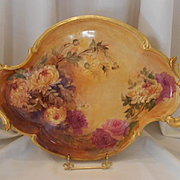 """Huge Limoges 17"""" Rococo Handled Tray; Yellow Chrysanthemums & Pink Roses"""