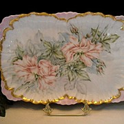 SALE Beautiful Limoges Ruffled Rim Dresser Tray and Lovely, Naturalistic Roses