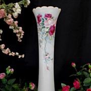 """Beautiful Willets  Belleek 15 1/2"""" Trumpet Vase; Delicately Painted Roses"""