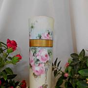 SALE Beautiful Bavarian Cylinder Vase; Roses; Artist; Gold Banding