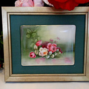 Beautiful Limoges Framed Plaque; Delicate, Lovely Roses
