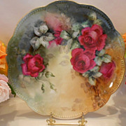 Fabulous Limoges Charger; Extremely Rich Deep Pink Roses on Green