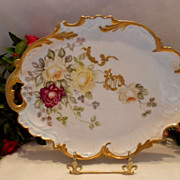 SALE Gorgeous Limoges Tray; Red & Yellow Roses; Rococo; Ornate; Victorian; Handpainted; Raised