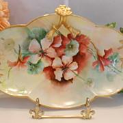 Richly Painted Limoges Split Handle Tray; Vivid, Colorful Nasturtiums & Gold