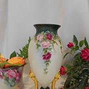 Beautiful Limoges Pedestal Footed Vase; Cascading Roses; Ornate Lion Headed Legs