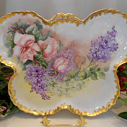 SALE Outstanding Limoges 1896 Butterfly Shaped Tray;Roses & Lilacs;  Artist; Dated