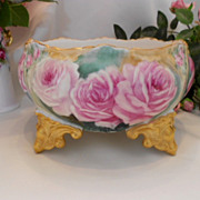 Lovely Limoges Ornate Footed Ferner; Fat Pink Roses; Gold; Rococo
