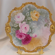Beautiful Limoges Rococo Plate; Terrific Mold; Stunning Roses