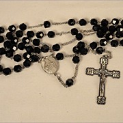 Vintage 1940's Catholic Sterling Silver & Black Glass Faceted Beads Sacred Heart of Jesus Rosa