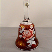 SALE Westmoreland Ruby Floral Glass Bell Hand Painted Rose Artist Signed Peltier 1976
