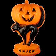 Vintage Lighted Plastic Halloween Blow Mold Decoration ~ Trick or Treat Jack-O-Lantern Pumpkin