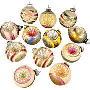 Beautiful Box 12 Large Shiny Brite Mica Snow Covered Indents Glass Christmas Ornaments Indents