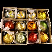 Box 12 Vintage Shiny Brite USA Art Deco HandPainted Fluted Glass Christmas Ornaments