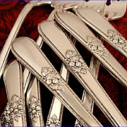 SOLD 1847 Rogers ADORATION Vintage 1939 ART DECO Silver Plate Silverware Set You Choose Dinner