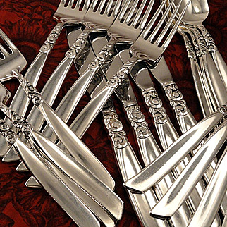 Oneida Community SOUTH SEAS Vintage 1955 Silver Plate Flatware Silverware Set Dinner Service for 4, 8 or 12