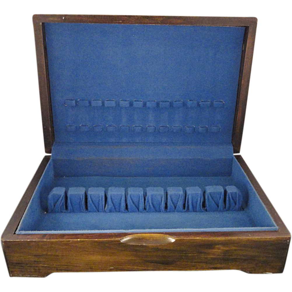 dark walnut silverware chest flatware wood storage box
