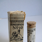 SOLD Early 1900's Humphreys Homeopathic # 10 Stomach Medicine Bottle and Package